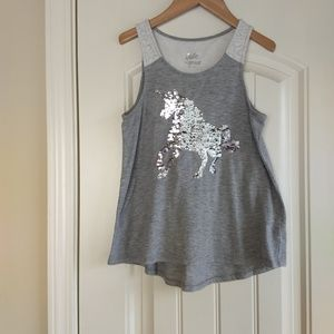 Justice Silver/Gold Flip Sequins Unicorn Tank Top